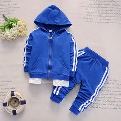 Baby Casual Tracksuit Children Boys Girls Cotton 2Pcs/Sets Kids Leisure Sport Suit Infant Clothing blue 80cm