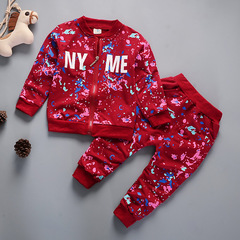 Boys'Suit 2019 New Kids' Suit Children's Leisure Kids Sports Boys'Spring and Autumn Two-piece Suit red 80cm
