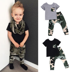 2 pieces Kid Short sleeve King Print T shirt Top and Camouflage Pants Set For Baby Boys Clothes gray 80cm pure cotton