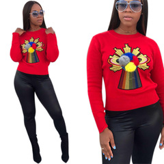 Explosive European and American classic patched sweater jacket Women's Clothes Sweaters  Cardigans red s