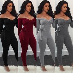 2019 Sexy Ladies Women Playsuit Bodysuit Party Jumpsuit Romper Long Sleeve Slash Neck Trousers black s