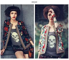 Seven-sleeve jacket with short jacket printed by European and American fashion white s