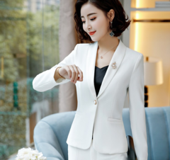 Autumn and Winter 2019 New Classic Long Sleeve Professional Pants Suit white s