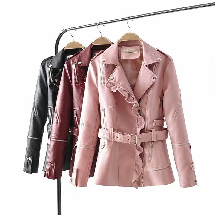 European and American Wind Lotus Leaf Edge Stitching Belt Leather Coat Women's Clothes Coats Jackets black xl