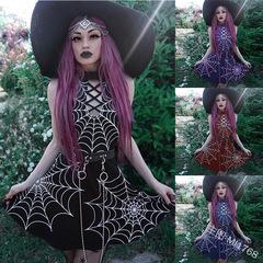 2019 European explosive women's dark punk wind spider web printing sleeveless round collar jumpsuit s purple