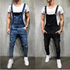 European and American holes loose men's denim straps suspenders blue m