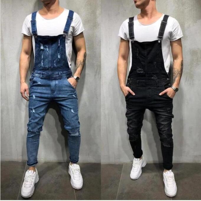 European and American holes loose men's denim straps suspenders blue s