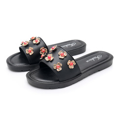 Made in China flat sandals ladies slippers flowers beach shoes fashion sandals and slippers black 36