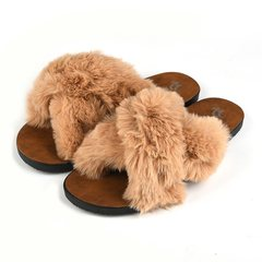 Women's Slippers, Fleece Slippers, Flat Sandals, One-Down Ladies, Sandals and Slippers brown 38