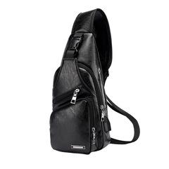 Men's Chest Bag Men Leather Chest Pack USB Backbag Headphone Hole Functional Travel Male Sling Bag black one size
