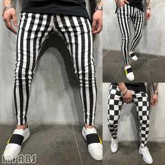 Fashion Slim Striped Pants Men Tight Vintage Plaid Casual Pencil Fitness Man Trousers Pockets  Pants striped m