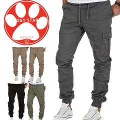 Men Side Pockets Pencil Pants Vogue Man Casaul Long Ankle-Tied Cargo Sportswear Daily Wear Trousers gray m