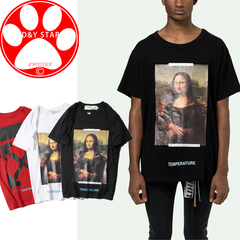 New T-shirts Men Fashion Mona Lisa Oil Painting Arrow ow Short Sleeve Cotton Men's Clothes white s cotton