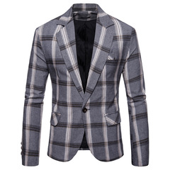 New Arrival Clothing Suit Men's Plaid Jacket Jacket Men Fashion Slim Male Casual Blazers Men Clothes gray m