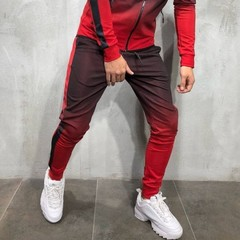 Mens Casual Slim Pants Cotton Sports Joggers Sweatpants Cool New Ankle Zipper Clothes Trousers red s