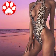 Leopard Print Bikini 2019 New Swim Lady Sexy Swimwear Women Beachwear Hollow Bandage Beach Swimsuit Leopard m