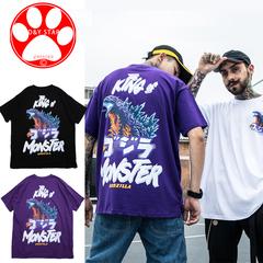 Man Fashion T-shirt Cotton Streetwear Short Sleeve monster print  Hip-hop Loose T-shirt Clothes Tee white m cotton
