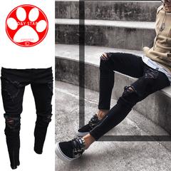 Man Slim Fashion Cotton Pants Casual Hole-Breaking Elastic Zipper Men Mini-pants Cool Boy  Trousers black s