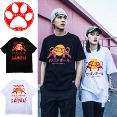 New Fashion Hip Hop T Shirt Cotton Men Women Animation Print Tees CasualBrand Streetwear Boys Tops black m cotton