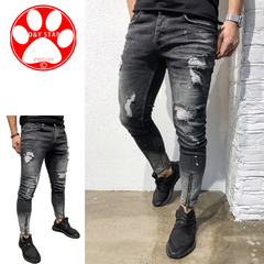 Men Casual Tight Slim Fashion Pants Fitness Holes Small-footed Trousers Cotton Stretch New Jeans black m