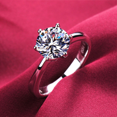 Brand Charm Women Diamond Wedding Rings Fahion Silver engagement Classic Crystal Bride Jewellery silver usa 6