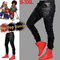 New Men Casual Sticker Tight Elastic Slim Pants Fashion Wear Fitness Trousers Cotton Stretch Pants black s