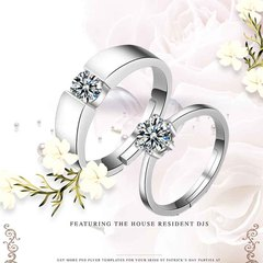 Diamond 925 Silver Couple Rings Adjustable Women Man Wedding Accessories Engagement Jewellery Ring silver adjustable