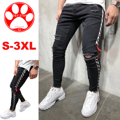 2019 Man Slim White Pants Tight Elastic Men's Hole-in Small-Foot Zipper Jeans Fitness Men's Clothes black m