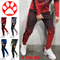 Mens Slim Pants Cotton Elastic Casual Joggers Sweatpants Cool New Ankle Zipper Clothes Trousers red s