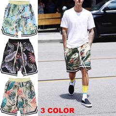 Man Fashion Beach Short Pants Streetwear Floral Print Cotton Sport Basketball Trousers Men's clothes Pink m