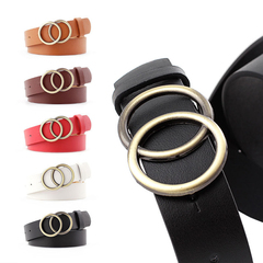 2019 New Vintage Double Round Buckle Belt Leather Waist Belt  for Women Waistband camel