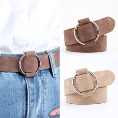 Women Leather Belt Newest Round Buckle Belts Female Leisure Jeans Wild Without Pin Women Strap Belt camel