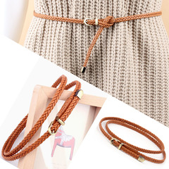 Women's Belt Fashion Candy Color PU For Dress Pin buckle  Ladies Female Belt Thin Braid Thin Narrow brown