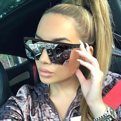 Luxury Sunglasses Women Man Oversized Transparent Sunglasses New Designer Vintage Flat Top Eyewear Tea One size