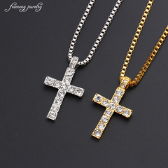 Hip Hop Gold Color Cross Pendant Necklace Religious Iced Out Jewely For Men Free Cuban Chain gold 40*2.5cm