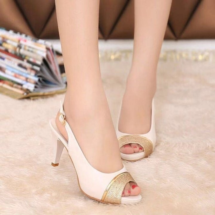 2019 spring and summer new sandals,  ladies female fish mouth shoes,  women female high heel white 37