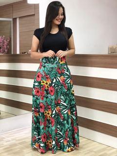 2019 new flower print long and short sleeved women dress  long skirt ladies dresses m Leaf green short sleeves.