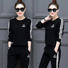 2019 New casual women's wear fashion loose long-sleeved cotton-padded two-piece suit. black m