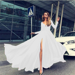 A Ladies dress 2019 New European dress with deep sexual feelings V long-sleeved women's dresses White l
