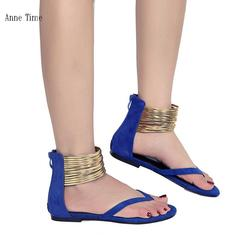 Large size sandals in Europe and America Flat-bottomed chic women's sandals Gold heel sandals blue 39