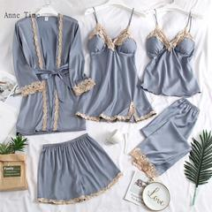 Pajamas five-piece summer sexy sling chest pad nightdress thin long-sleeved silk robe for women Lace edge Light blue m