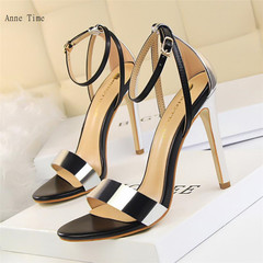 European and American fashion sexy thin heels Hollowed-out open-toed women's sandals silver 35