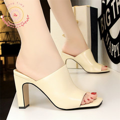 Fashion trend thick-heeled women's shoes high-heeled square-headed women's sandals and slippers Apricot 37