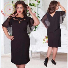 2019 New women's dress European and American solid color loose dress round collar chiffon A dress. l black