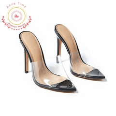 European and American ins network celebrity pointed transparent high heels women's shoes new style black 36