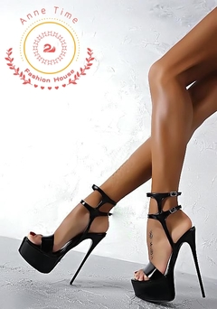 16 cm high heeled sandals for women with large size and thin heels in Europe and America Ladies black 40