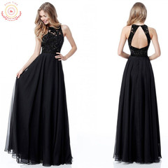 Mother's day 2019  chiffon evening dress with missing back sexy dress dress  women black s