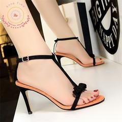 2019 stylish high heels velvet pinned T-belt small bow-toed women's sandals. orange 40