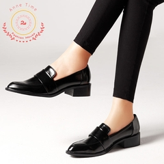 2019 Fashion single shoes European and American casual short heel shoes large size women's shoes black 35