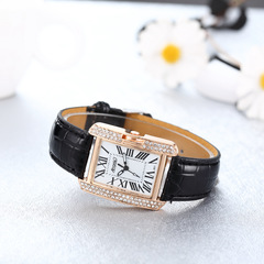 Fashion diamond-inlaid concise lady's Watch black woman